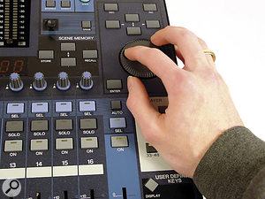 One of the consequences of the DM1000's extremely compact design is that the buttons and controls are placed very close together on the top panel. This makes it quite easy to press buttons accidentally while operating the console — you have to be careful not to lean on the mixing layer buttons while using the data dial, for example.