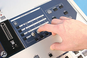 The rotary controls in the front panel's Selected Channel section have a dual action: turn them and they adjust a selection of different parameters, depending on which button is active to their left; press them and they select different effect slots and aux sends for editing, as well as switching between different parameter pages.