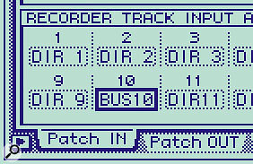 Next, this group buss can be routed to a recorder track via the Setup Patch In page...
