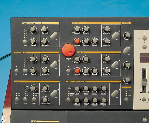Waldorf Wave oscillators, LFO and Wave controls.