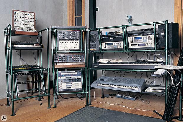 The main keyboard and module racks, including EMS Synthi, ARP Odyssey, EDP Wasp and Spider MIDImoog, Obi rack, Minimoog, Waldorf Microwave, Akai S1000, S1100, and S3000 samplers, Korg 01/W ProX, and Emu Emulator III.