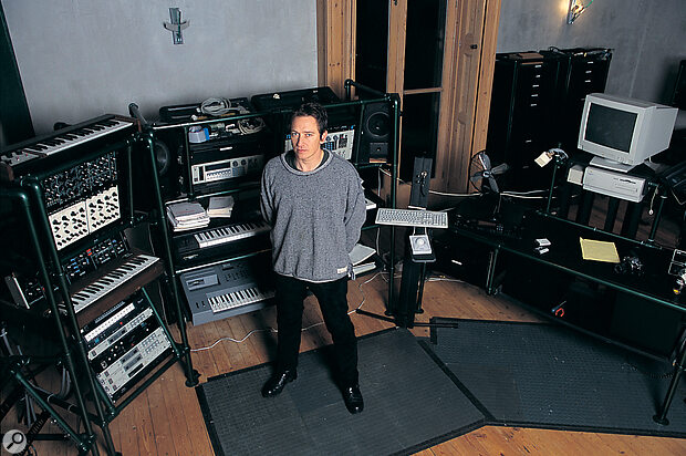 Master of all he surveys... Alan with his main keyboard racks.
