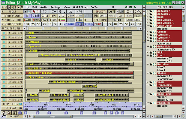 The Editor window provides an overview of the project, showing audio files in their respective positions and featuring the cut‑and‑ paste‑style editing features we all know and love.