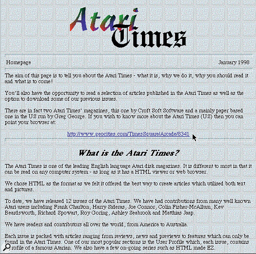 The Atari Times Internet home page.