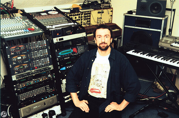 Paul in his loft‑based studio. Amongst the gear visible in shot are his Roland XP80 and Korg Prophecy.