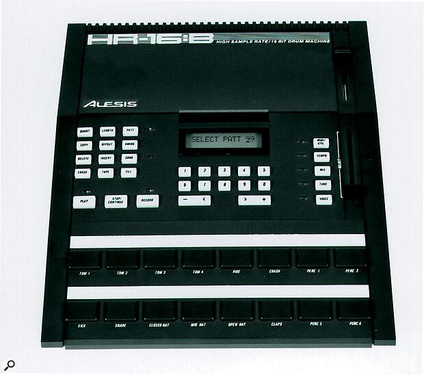 Alesis HR-16B drum machine.