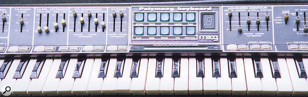 """The blue QWERTY‑style key pad is named the """"digital logic system"""", and selects the Polymoog's Presets: Strings, Piano, Organ, Harpsi, Funk, Clav, Vibes and Brass."""