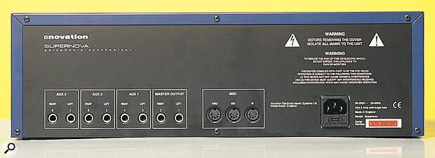 Novation Supernova ASM rear panel connections.