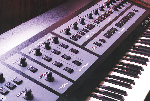 Though the trademark blue stripes appeared only on the later OB‑series synths, the original OBX's panel layout (shown here) was retained.