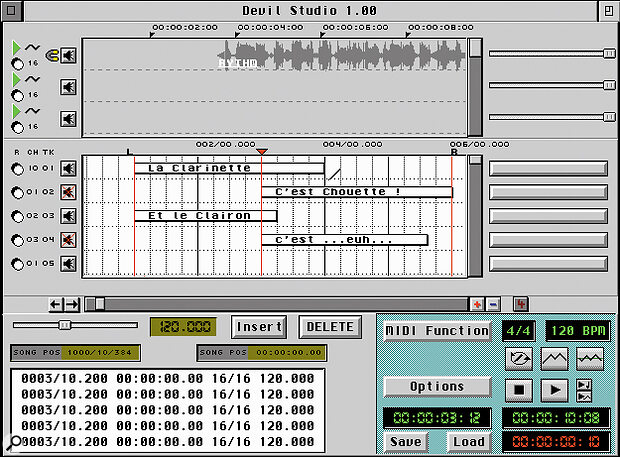 The intriguingly named Devil Studio is a new MIDI + Audio sequencer for the Atari.
