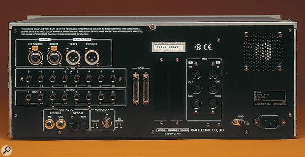 Rear panel of Akai S6000 rackmount sampler.