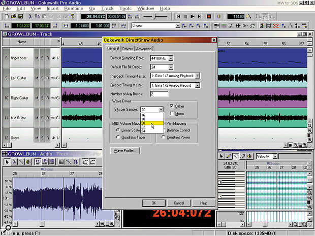 Cakewalk Pro Audio 8 has options for setting the number of bits used when communicating with the soundcard, as well as a choice of 16‑ or 24‑bit files, but there's a lot more to 20‑ and 24‑bit audio recording than buying a suitable soundcard and ticking the appropriate boxes.
