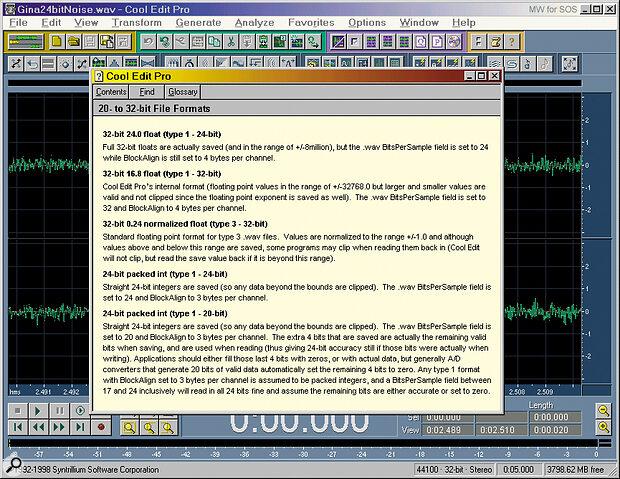 Cool Edit Pro definitions for various bit depths.