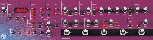 Ensoniq Fizmo front panel knobs.