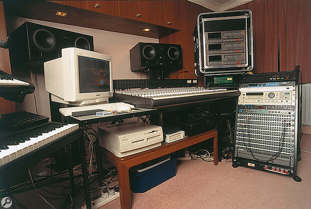 The control room in Stockley and Houison's home studio, showing (from left) Korg M1 and Kurzweil K2500 synths, with Alesis SR16 drum machine resting on the latter; their G3 Mac and (top right) three Alesis ADAT XTs.