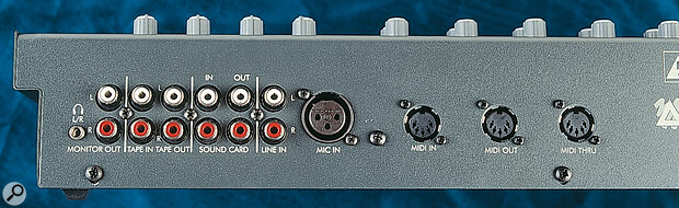 StudioMix offers mic‑ and line‑level inputs, as well as outputs designed for monitors and master recorders.
