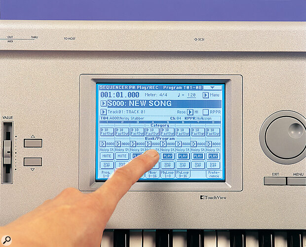 The Triton's sequencer is similar to that of the Trinity, but is expanded to store over 100,000 notes and 200 songs.