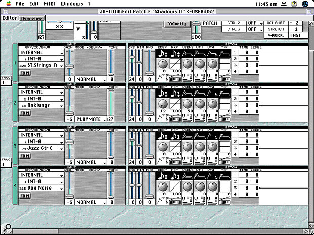 Any serious editing of the JV1010's patches needs to be done using the bundled Sound Diver software.