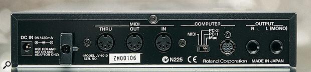 Roland JV1010 rear panel.