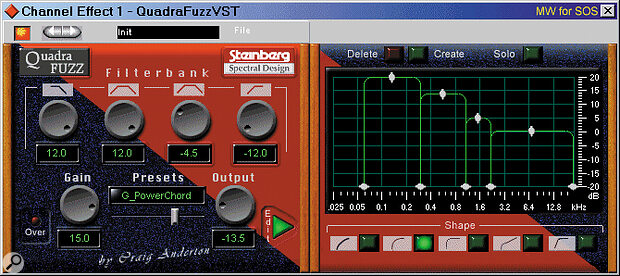 Craig Anderton's Quadrafuzz (shown here inside Cubase VST) provides a huge range of creative distortion options while maintaining a responsiveness rarely found in sonic manglers.