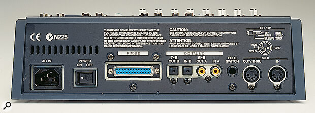 The footswitch, MIDI and digital connectors are relegated to the back panel: Roland's proprietary RMDB II 8‑channel digital interface socket is here, as are the stereo TOSlink and co‑axial connectors, which provide access to mix busses 5&6 and 7&8 respectively.