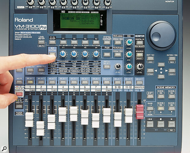 The VM3100 enjoys the same EZ Routing facilities as the VS‑series digital multitrackers, providing simple help for the confused when it comes to setting up signal routing and bussing within the mixer, via the display.