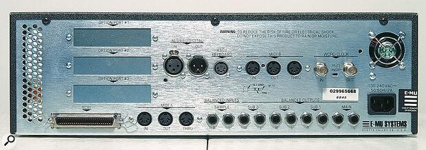 Emu E4XT Ultra rear panel connections.