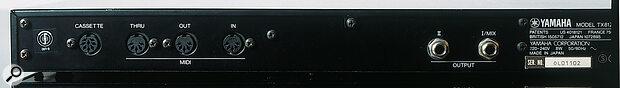Yamaha TX81Z rear panel.