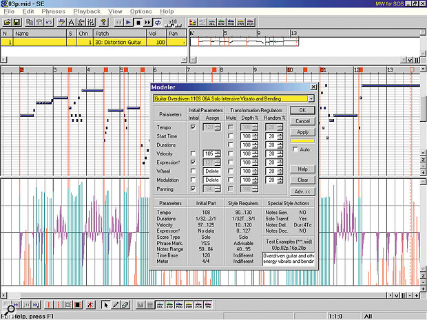 This is the result of transforming a lead guitar solo supplied by Ntonyx using the 'Guitar Overdriven 110S 06A Solo Intensive Vibrato and Bending' style. A few of the notes had their lengths altered, but the majority of enhancement is MIDI controller data. The massaged velocity values are shown in cyan, added pitch‑bend data in purple, and modulation in red.