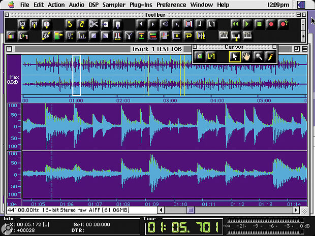 A detailed waveform display, such as this within BIAS Peak, is essential for any serious editing work. An overview waveform is also useful for navigational purposes, particularly when working on large files.