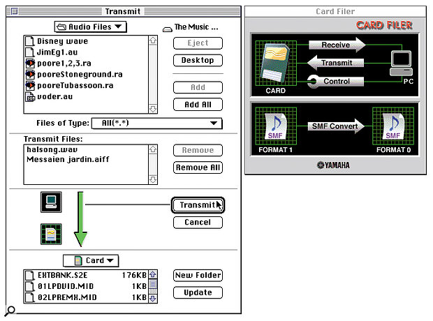 The Card Filer utility, which you can use to transfer files between your computer and SmartMedia cards inserted in the CS6x via the latter's direct computer interface.