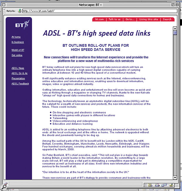 BT's own introduction to ADSL, from the www.bt.com site.