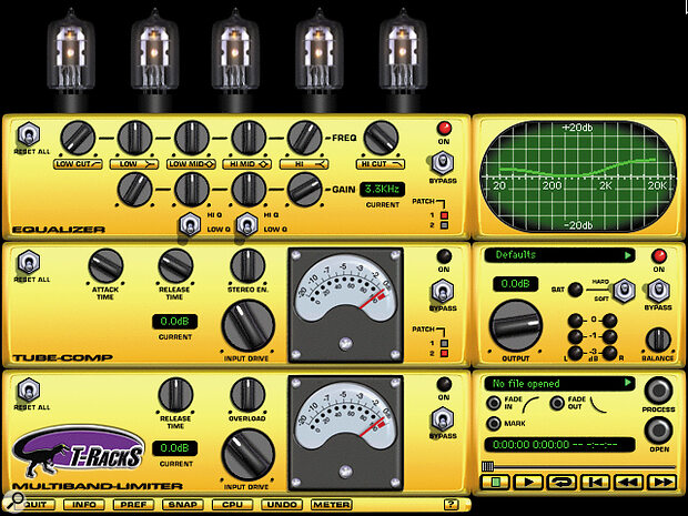 T‑Racks's three elements aim to simulate an analogue mastering EQ, compressor and multi‑band limiter.