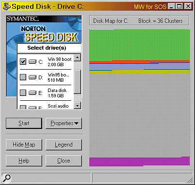 Norton Speed Disk, ready to pounce on an unsuspecting hard drive and round up scattered file fragments.