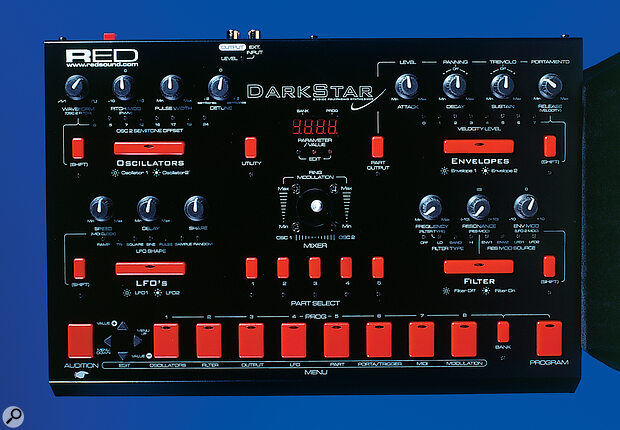 Each of the Dark Star's four main sections (Oscillators, Envelopes, LFOs and Filters) has dedicated editing controls for most functions; the remainder are accessed using the menu‑based editing system (bottom).