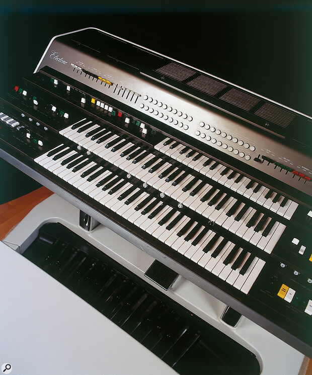 The GX1 sports no fewer than three keyboards, plus a pedal board; the Upper and Lower manuals are each 8‑note polyphonic, while the pedals and half‑depth Solo keyboard are monophonic. All but the latter are also bi‑timbral.