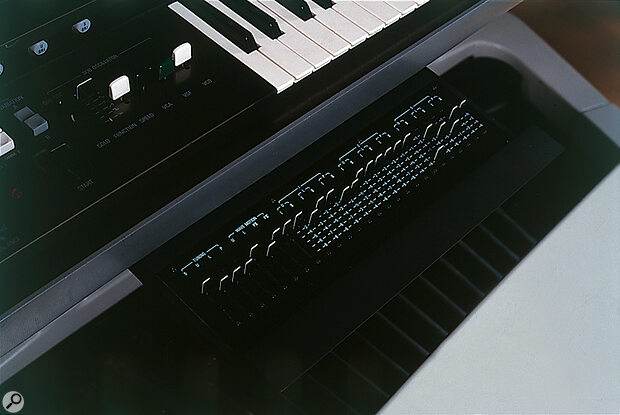 The pull‑out drawer under the lower manual allows you to set up three preset Pitch Sets as an alternative to the 'live' pitch sliders on the top panel.