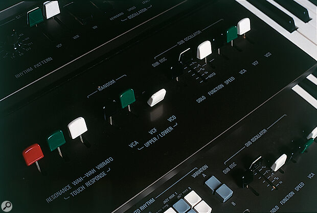 The GX1's performance controls encompass some parameters which are more usually stored as part of patch settings: to the right here are the Sub Oscillator (LFO) controls for the Upper Manual.