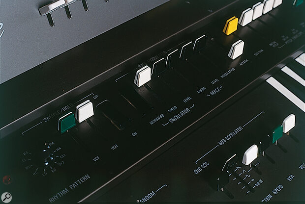 Some of the Solo manual's many performance controls, including the routings for velocity sensitivity, pressure sensitivity and side‑to‑side key movement, and the controls for Sample & Hold and the impressive Ring Modulator.