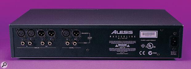 MasterLink's rear panel offers both balanced XLR and unbalanced phono analogue I/O as well as AES-EBU (XLR) and S/PDIF (phono co-axial) digital I/O.