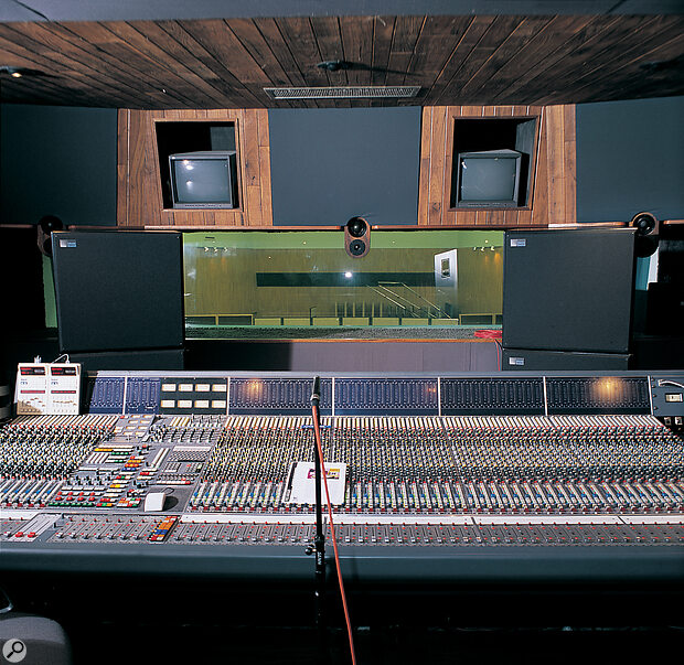 Meyer's X10s at their UK launch, either side of the SSL console at CTS Studios, London.