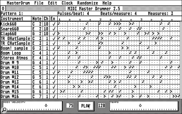 The grid‑like interface offered by MIDI Master Drummer is easy to get to grips with.