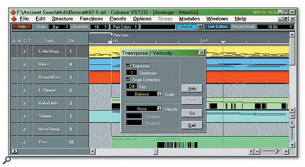 Cubase's Scale Correction feature is part of the Transpose/Velocity window, though it can also be used in the Logical Editor.