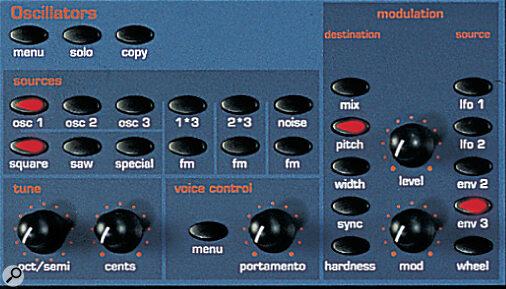 Novation Supernova II oscillator and modulation controls.