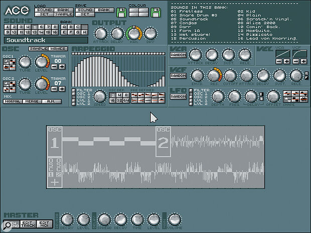 This screen of an interim version of New Beat's Ace Falcon software synth looks impressive enough, though the final version may look a little different.