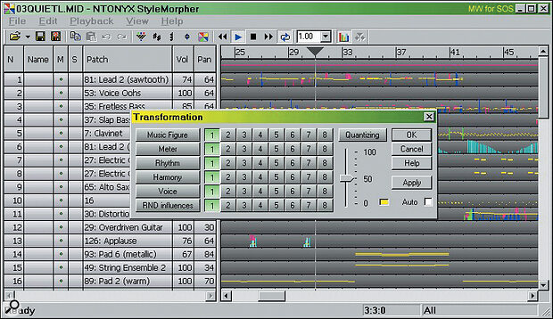 Here's a sample song before being morphed, showing the initial set of voices and MIDI note data, along with the various Transformation options and modes. Each of these can be switched in or out at any time during song playback.