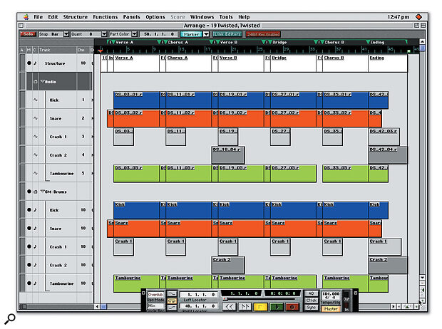 A typical performance from VST Drum Sessions. Two folder tracks contain, respectively, the audio parts as REX files, and the same patterns as MIDI parts, allowing you to substitute your own sounds for those supplied.