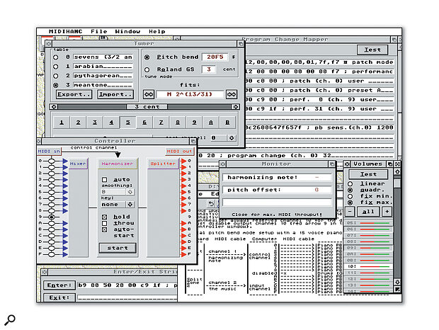 MIDI Enhancer's improved layout and extra features are evident from this busy screen.