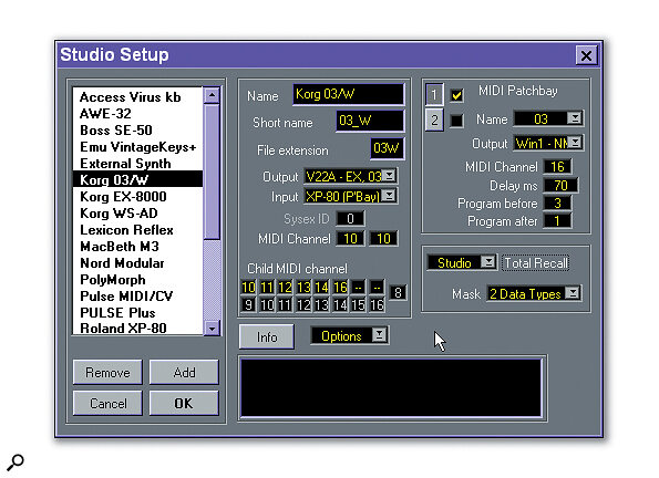 A completed Studio Module setup in Cubase on the PC.