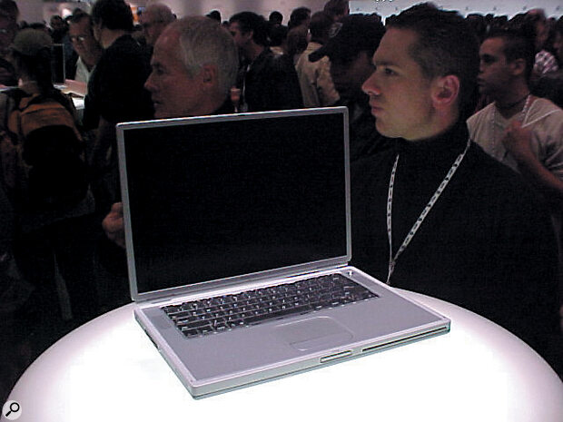 The slinky new Titanium G4 laptop at MacWorld.